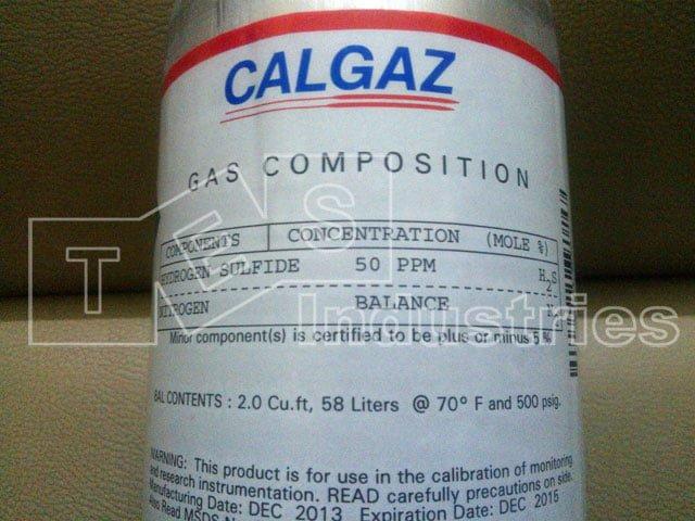 H2S 50ppm component standard gas bottle, 8AL model, 58L gas capacity