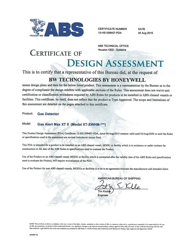 Certificate of registration for ABS type approval gas detector