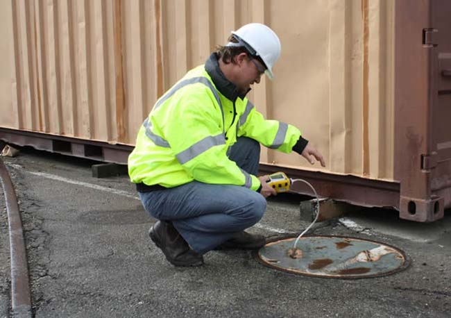 Check the area before entering the work using the Confined Space function
