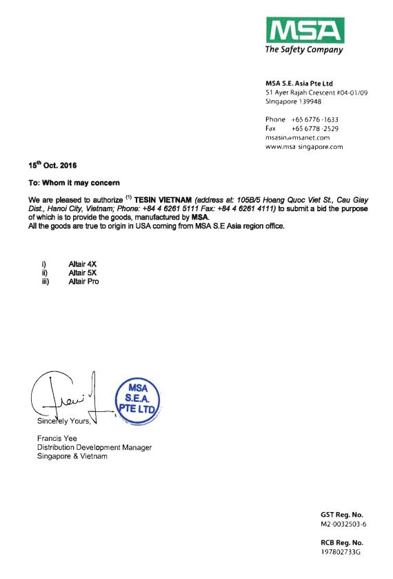 Thư chỉ định đại lý ủy quyền của hãng máy đo khí MSA