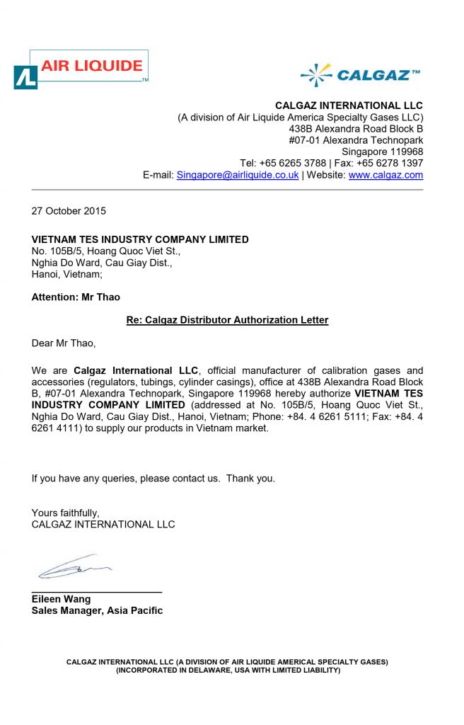 Đại lý phân phối bình khí chuẩn Calgaz USA