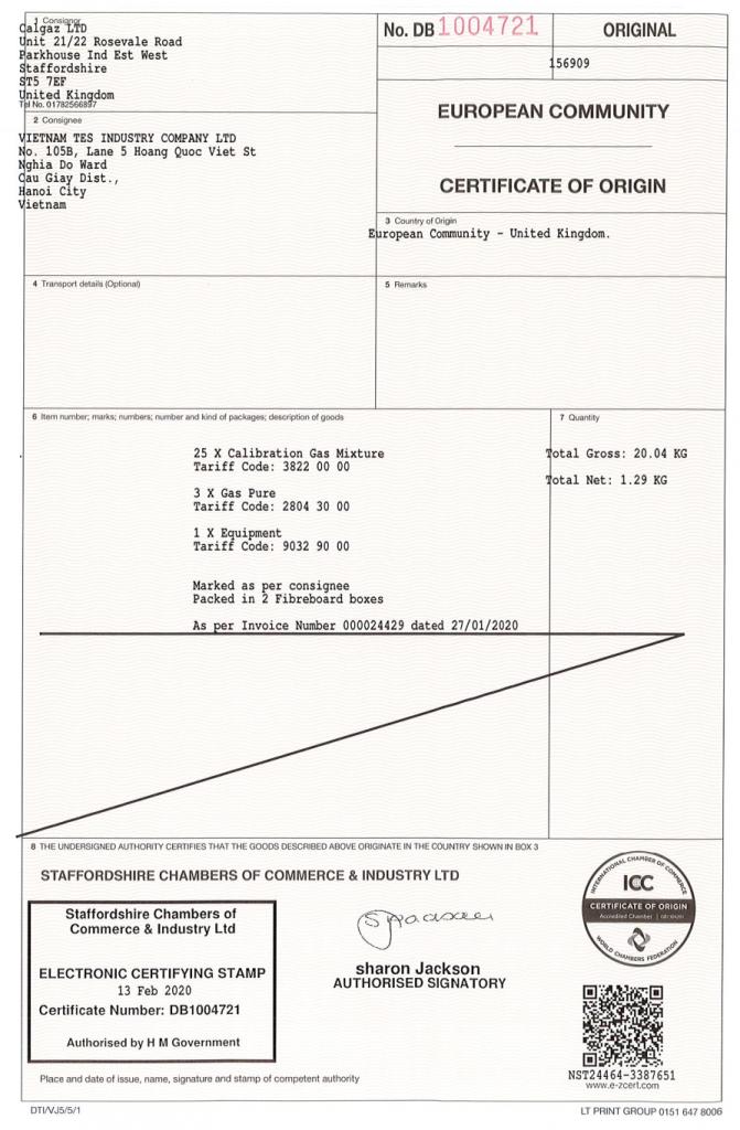 Chứng nhận xuất xứ CO phòng thương mại của Calgaz Anh Quốc